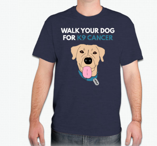 Walk Your Dog For K9 Cancer Heathered Navy Race Shirt