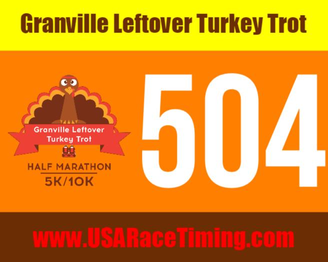 Granville Leftover Turkey Trot Race Bib Half Marathon, 10k, 5k and Kids Fun Run Chip Timed Race Event In Ohio