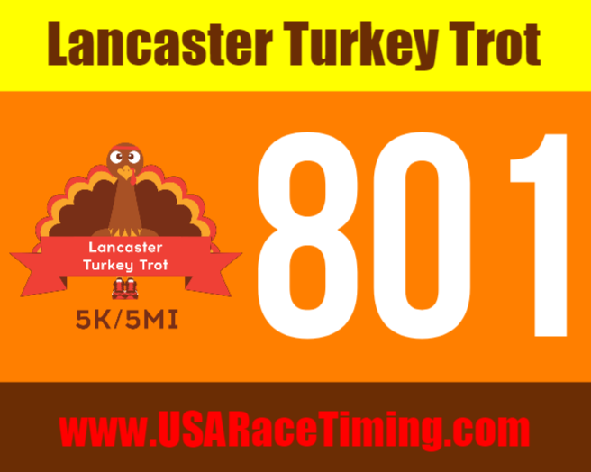 Lancaster Turkey Trot Race Bib 5k & 5mi