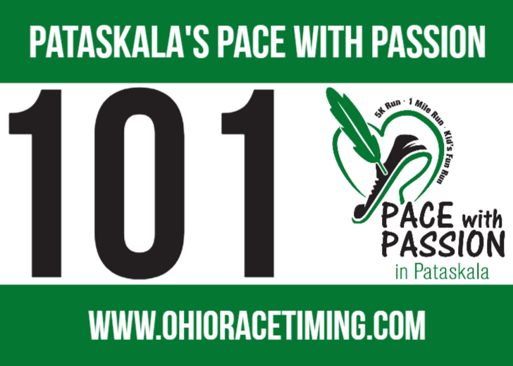 Custom Race Bib For Pataskala's Pace With Passion 5k, 1mi & Kids Fun Run - Ohio Race Timing & Event Management